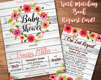 Rustic Baby Shower Invitation, Floral Baby Shower Invitation, Girl Baby Shower Invitation, Baby Girl, Its a girl, Watercolor, Printable