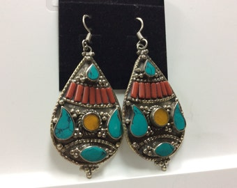 Handmade Tibetan turquoise coral amber earring