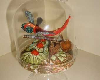 Vintage Style Faux Taxidermy of Dragonfly in a Terrarium with Dragonfly Knob Dome