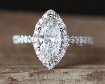 Forever Brilliant Moissanite Engagement Ring 5.5*11mm Marquise Cut Moissanite Ring 14K White Gold Ring Halo Diamonds Ring Half Eternity