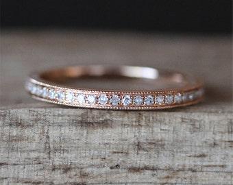 Milgrain Bezel Ring Half Eternity Diamonds Ring Stackable Match Ring 14K Rose Gold Ring Shiny Brilliant Wedding Ring Bridal Band