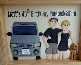 Clay portrait campervan gift - personalised family gift, family with pet gift, custom family and pet portrait, travelling gift