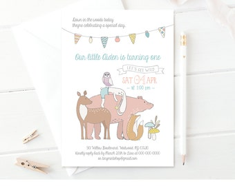 Woodland Baby Birthday Invitation Template   Printable Animal Party Invite   Editable File   Instant Download   Neutral, Boy or Girl #025NBD