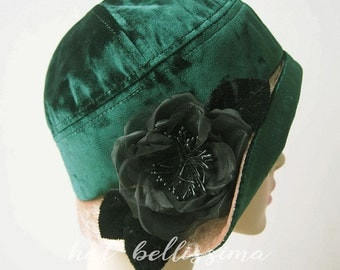 SALE green 1920's Cloche Hat Vintage Style hat winter Hats hatbellissima ladies hats  millinery Hats with a Brooch