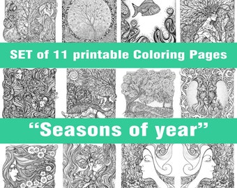 """11 Printable PDF Coloring Pages Set """"Seasons of year"""" for colouring and relaxation, for adults, antistress, women, nature, girl"""