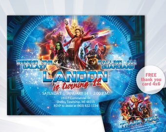 guardians of the galaxy - Guardians Birthday Invitation | Boy Birthday Invitation | Digital Birthday Invitation