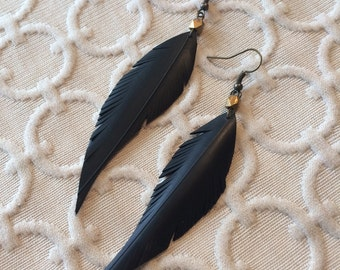 Rubber Feather Earrings - bronze faceted bead