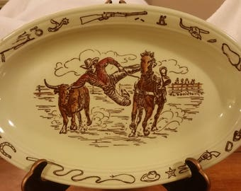 "Vernon Kilns ""Frontier Days"" Oval plate *Signed"