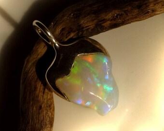 Pendant with Opal, 23 mm Green Blue, Opal pendants, unique pendant