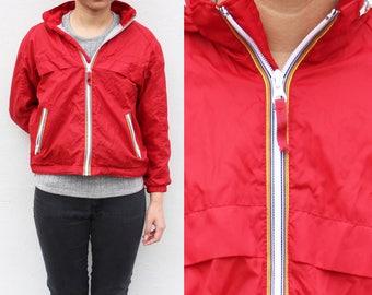 Vintage Red Rain Jacket Windbreaker Jacket