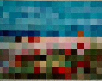 Pixel art with several layers of oil. Subject: Beach in the North on canvas 120 x 80 cm with gloss varnish