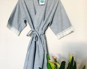 Powder Blue Textured Cotton and Lace Robe