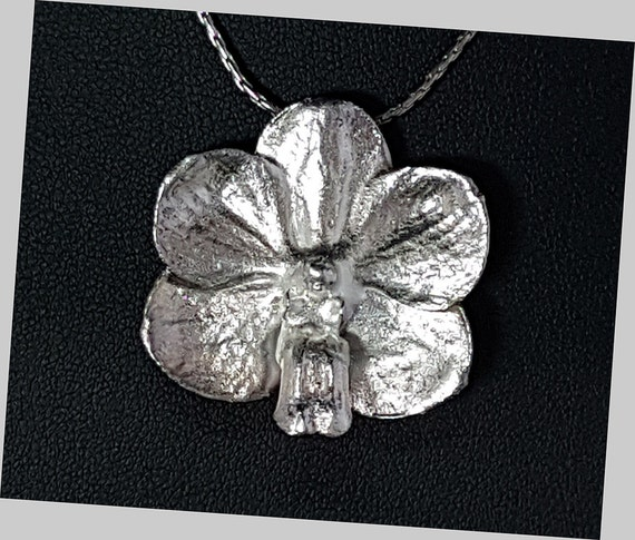 Sterling Silver Real Orchid Pendant Necklace Brooch