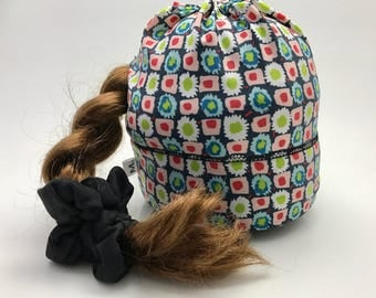 Sport Tuque with hole for duvet Navy with small flowers