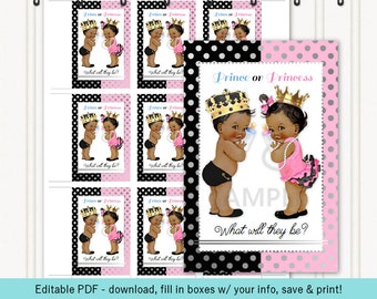 Prince Princess Gender Reveal / Twins Boy Girl | Tags | Black Pink Silver Gold | African American | Editable PDF Digital Instant Download