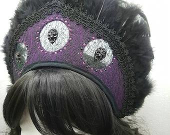 Purple Kokoshnik with crystals and feathers / purple Frenchhood