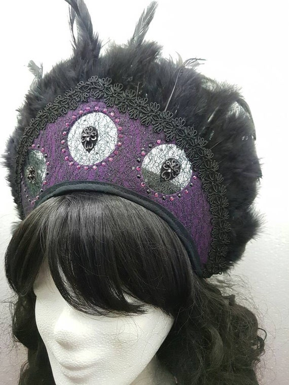 SALE purple Kokoshnik with crystals and feathers / purple Frenchhood