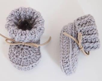 Handmade Crochet Baby Booties - Grey - newborn/6 months