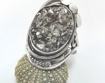Ring gross Pyrite in Sterling Silver Ring quartz Pyrite sterling silver 925 thousandth euro 53.5 size size 6.75 us swiss 13.5