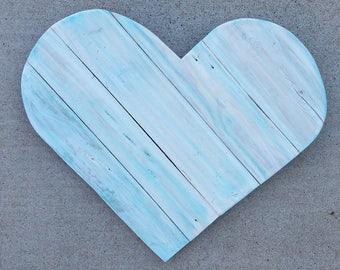 Large Wood Heart | Rustic pallet wood heart | White and Teal Pallet Heart | Large Heart | Pallet Wood Heart |  Wood Heart | Stained Heart
