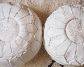 Set Of 2 White Moroccan Poufs, High Leather Quality, Ottoman
