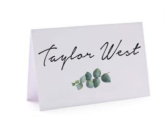 Greenery wedding place card, eucalyptus wedding place card, natural, greenery, white, vintage, garden, boho, rustic, table card  (Peyton)