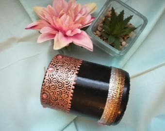 Hand Decorated Black Candle/Gift Idea/Eid Gift