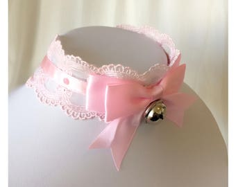 Baby Pink Kitten Play Collar Tulle Lace with bell