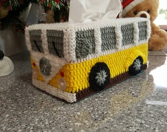 Kombi Van Tissue Box Cover - Crocheted in Customised Colours. Volkswagon VW