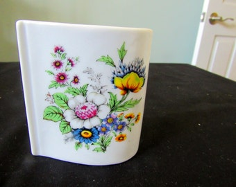 REDUCED Vintage VCGC Mini Vase, Pencil Holder, Trinket Box, Decorative Floral Motiff   429
