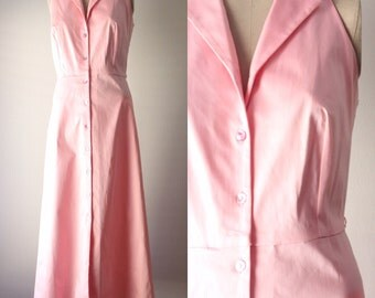 vintage 1980s dress・candy pink・long skirt・FREE SHIPPING