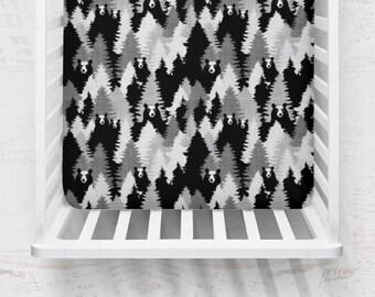 Modern Woodland Bear Forest, Organic Fitted Crib Sheet, Baby Bedding, Modern Crib Bedding, Minky Crib Sheets, Gender Neutral Crib Sheet