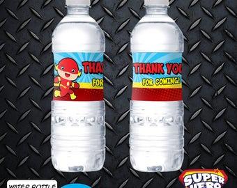 FLASH Water Bottle Labels Birthday Superhero Party SH-WB-001