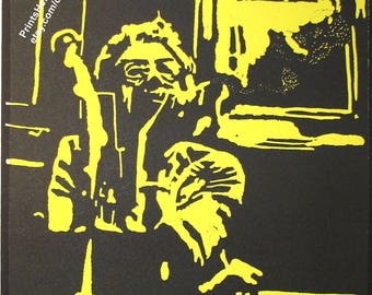 Halo Original Print music passion love modern art wall decoration woman, black yellow