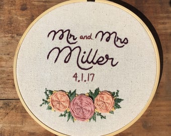 "Custom Newlywed Hoop - Hand Embroidery - 7"" Hoop - Flower Detail"