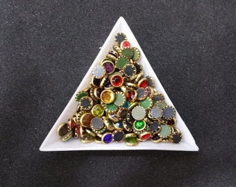 Hotfix Rhinestones with Gold Edging - Multicolor