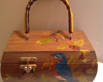 Wood decoupage / hand painted Vintage Purse