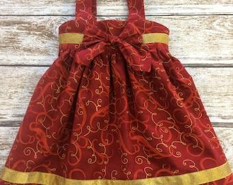 SALE - Girls Dress -  Girls Holiday Dress - Girls Red Dress - Girls Christmas Dress - Red and Gold Toddler Dress - Toddler Dress