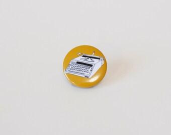 Pinback button Typewriter illustration