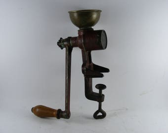 Antique Iron And Brass Poppy Seed Grinder