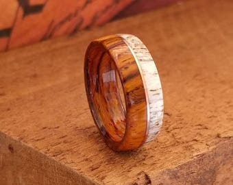 Cocobolo and Elk Antler Ring with Copper Inlay