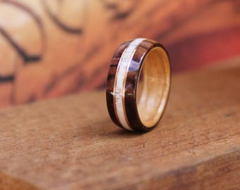 Elk Antler Wedding Ring Kingwood - Men's Wooden Ring Wood Anniversary Gifts for Men Engagement Ring for Men Bentwood Ring