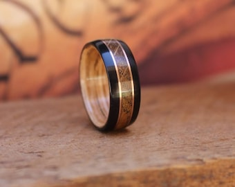 Whiskey Barrel Bentwood Ring -Wood Ring Wooden Wedding Ring Mens Wooden RIngs Engagement Ring Reclaimed Wood Anniversary