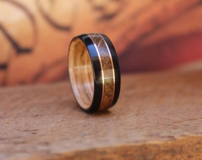 Featured listing image: Jack Daniels Reclaimed Whiskey Barrel Ring with Ebony & Copper