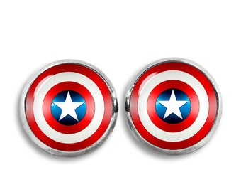Captain America Shield Stud Earrings Captain America Shield earrings Superhero Earrings Fandom Jewelry Cosplay Fangirl Fanboy