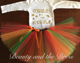 Ready to ship, gobble till you wobble, gobble till you wobble tutu set, thanksgiving tutu set, happy thanksgiving, infant thanksgiving tutu