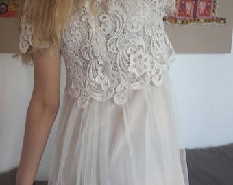 Gorgeous romantic vintage lace and tulle dress