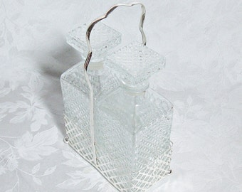 Vintage Clear Glass Double Decanter Set with Silver Plate Caddy - Made in Italy