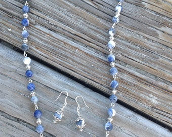 Sodalite Blue and White Beads and Pendant