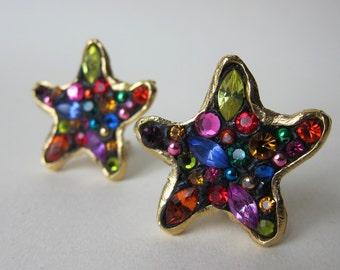 Golden clips star 1980 rhinestone earrings fancy Vintage